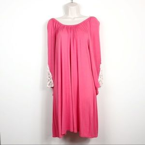 The Hanger Coral Dress w/ Crocheted Sleeves S-L